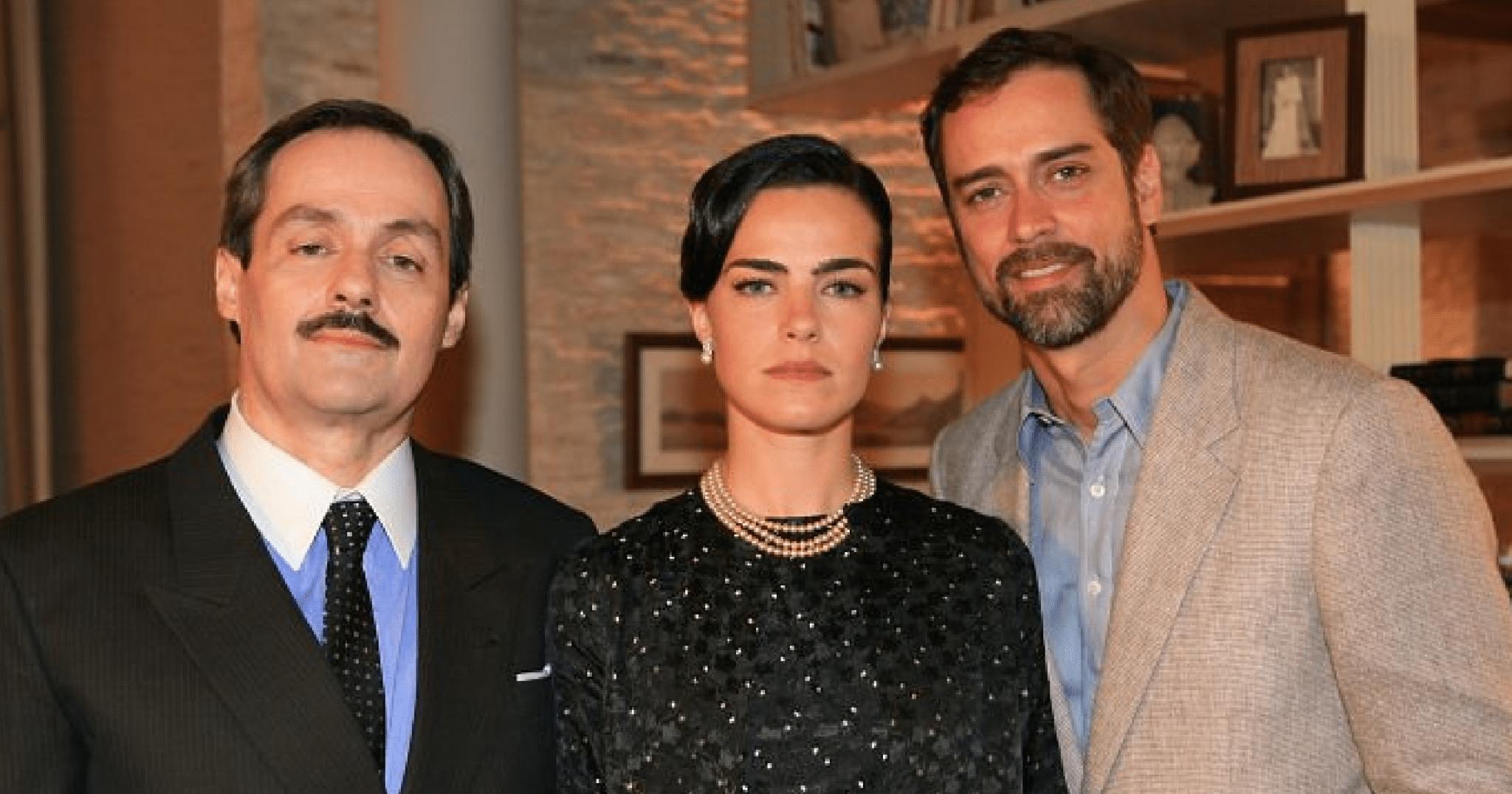 """Daniel Dantas, Ana Paula Arósio e Marcello Antony na segunda versão de """"Ciranda de Pedra"""" (2008). Imagem: Rede Globo / Divulgação"""